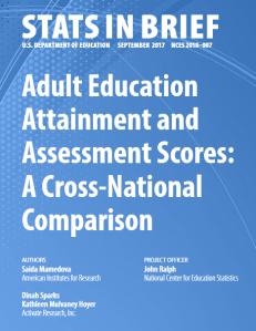 Cover image of Stats in Brief, an NCES 2018 publication featuring Adult Education Attainment and Assessment Scores: A Cross-National Comparison.