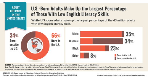 U.S.-Born adults make up the largest percentage of those with low English literacy skills